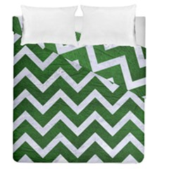 Chevron9 White Marble & Green Leather Duvet Cover Double Side (queen Size)
