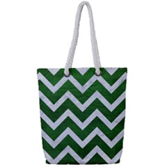Chevron9 White Marble & Green Leather Full Print Rope Handle Tote (small) by trendistuff