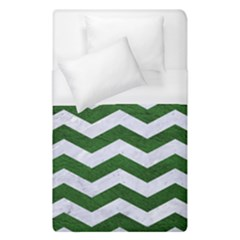 Chevron3 White Marble & Green Leather Duvet Cover (single Size) by trendistuff