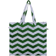 Chevron3 White Marble & Green Leather Canvas Travel Bag by trendistuff