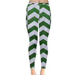Chevron2 White Marble & Green Leather Inside Out Leggings