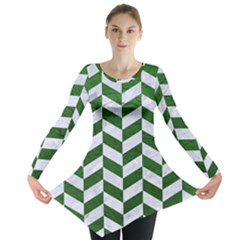 Chevron1 White Marble & Green Leather Long Sleeve Tunic