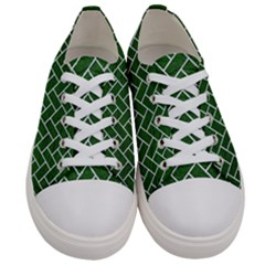 Brick2 White Marble & Green Leather Women s Low Top Canvas Sneakers