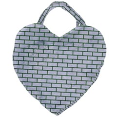 Brick1 White Marble & Green Leather (r) Giant Heart Shaped Tote