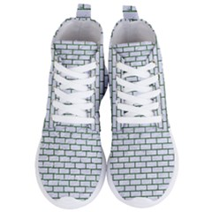Brick1 White Marble & Green Leather (r) Women s Lightweight High Top Sneakers