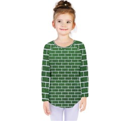 Brick1 White Marble & Green Leather Kids  Long Sleeve Tee