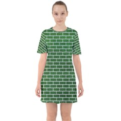 Brick1 White Marble & Green Leather Sixties Short Sleeve Mini Dress