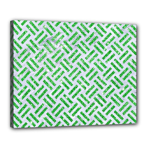 Woven2 White Marble & Green Glitter (r) Canvas 20  X 16  by trendistuff
