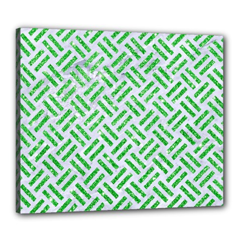 Woven2 White Marble & Green Glitter (r) Canvas 24  X 20