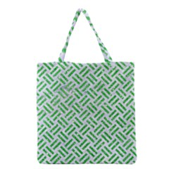 Woven2 White Marble & Green Glitter (r) Grocery Tote Bag