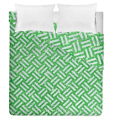 Woven2 White Marble & Green Glitter Duvet Cover Double Side (queen Size) by trendistuff