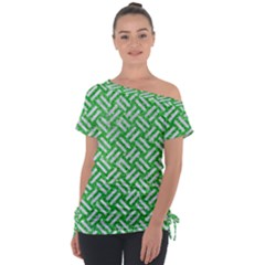 Woven2 White Marble & Green Glitter Tie Up Tee