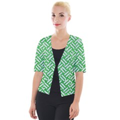 Woven2 White Marble & Green Glitter Cropped Button Cardigan
