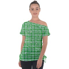 Woven1 White Marble & Green Glitter Tie Up Tee