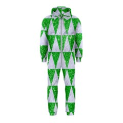 Triangle3 White Marble & Green Glitter Hooded Jumpsuit (kids)