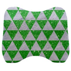 Triangle3 White Marble & Green Glitter Velour Head Support Cushion