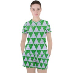 Triangle3 White Marble & Green Glitter Women s Tee And Shorts Set by trendistuff