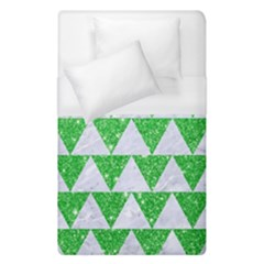 Triangle2 White Marble & Green Glitter Duvet Cover (single Size) by trendistuff
