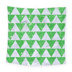 Triangle2 White Marble & Green Glitter Square Tapestry (large) by trendistuff