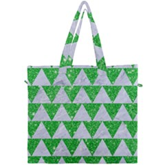 Triangle2 White Marble & Green Glitter Canvas Travel Bag by trendistuff