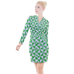 Triangle1 White Marble & Green Glitter Button Long Sleeve Dress