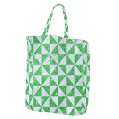 Triangle1 White Marble & Green Glitter Giant Grocery Tote