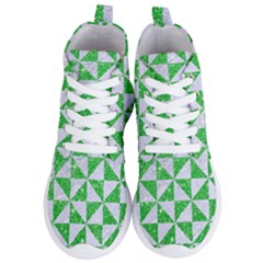 Triangle1 White Marble & Green Glitter Women s Lightweight High Top Sneakers by trendistuff