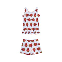 Red Peppers Pattern Kid s Boyleg Swimsuit