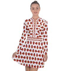 Red Peppers Pattern Long Sleeve Panel Dress by SuperPatterns