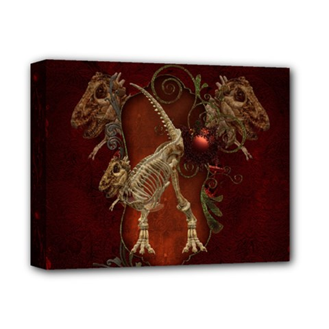 Awesome T Rex Skeleton, Vintage Background Deluxe Canvas 14  X 11  by FantasyWorld7