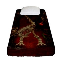 Awesome T Rex Skeleton, Vintage Background Fitted Sheet (single Size) by FantasyWorld7
