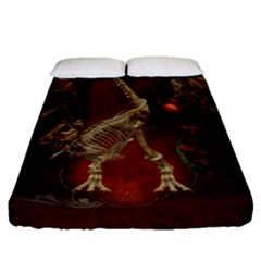 Awesome T Rex Skeleton, Vintage Background Fitted Sheet (queen Size) by FantasyWorld7