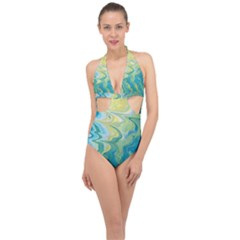 Melting Halter Front Plunge Swimsuit