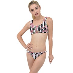 Pink Roses And Butterflies Stripes The Little Details Bikini Set