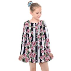 Pink Roses And Butterflies Stripes Kids  Long Sleeve Dress
