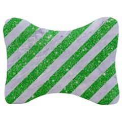Stripes3 White Marble & Green Glitter (r) Velour Seat Head Rest Cushion