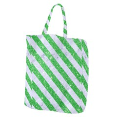 Stripes3 White Marble & Green Glitter Giant Grocery Tote
