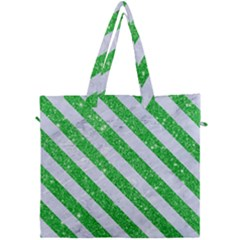 Stripes3 White Marble & Green Glitter Canvas Travel Bag by trendistuff