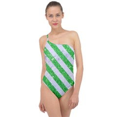 Stripes3 White Marble & Green Glitter Classic One Shoulder Swimsuit by trendistuff
