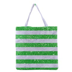 Stripes2 White Marble & Green Glitter Grocery Tote Bag by trendistuff