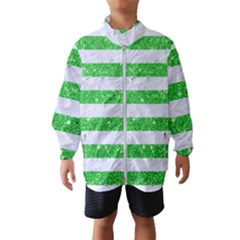 Stripes2 White Marble & Green Glitter Windbreaker (kids)