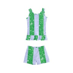 Stripes1 White Marble & Green Glitter Kid s Boyleg Swimsuit