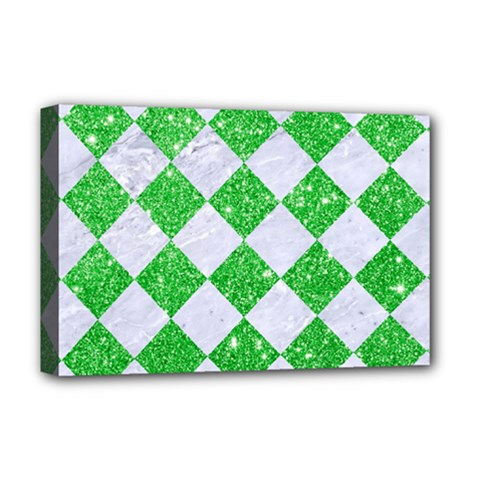 Square2 White Marble & Green Glitter Deluxe Canvas 18  X 12   by trendistuff