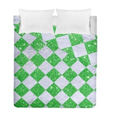 Square2 White Marble & Green Glitter Duvet Cover Double Side (full/ Double Size) by trendistuff