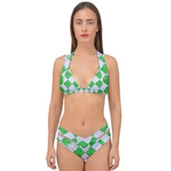 Square2 White Marble & Green Glitter Double Strap Halter Bikini Set