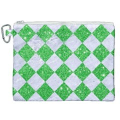 Square2 White Marble & Green Glitter Canvas Cosmetic Bag (xxl) by trendistuff