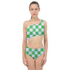 Square1 White Marble & Green Glitter Spliced Up Two Piece Swimsuit