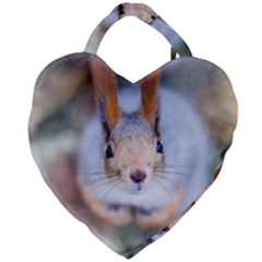Squirrel Looks At You Giant Heart Shaped Tote by FunnyCow