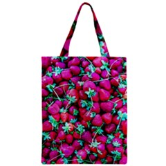 Pile Of Red Strawberries Zipper Classic Tote Bag by FunnyCow