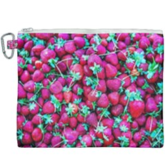 Pile Of Red Strawberries Canvas Cosmetic Bag (xxxl) by FunnyCow